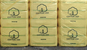 Cotton USA logo on bales of cotton