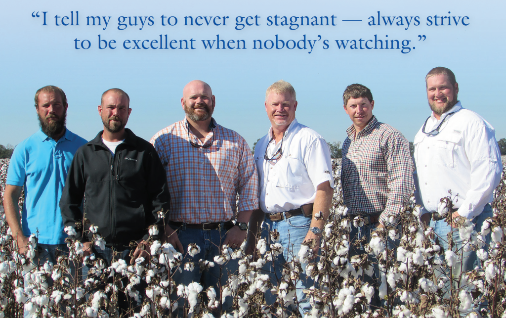 Wes Briggs, second from right, says he has been blessed to be able to work with a family partnership like 3J Farms, which is operated by brothers Steve, Mike and John Jordan. Several members of the Jordan family include (from left) John, Dawson, Milo, Cole, Steve, Jason and Mike.