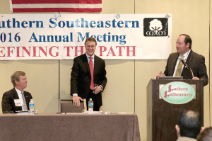 U.S. Sen. David Perdue (R-Ga.) was the keynote speaker at the recent Southern Southeastern annual meeting in Savannah, Ga. His comments regarding fair trade, opposition to EPA's aggressive, regulatory overreach and support for the cottonseed program were well received by all in attendance. Introducing the senator is Kent Fountain, president, Southeastern Cotton Ginners Association. Kent Wannamaker, left, is chairman of the board, Southern Cotton Growers.