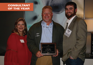 Wes Briggs, who was named the 2015 Cotton Consultant of the Year, is joined by Cotton Farming publisher Lia Guthrie and Syngenta's Josh Kelley during a special reception at the Beltwide Cotton Conferences. Wes, wife Beth and daughters Mabry-Grace and Emma reside in Bainbridge, Ga.