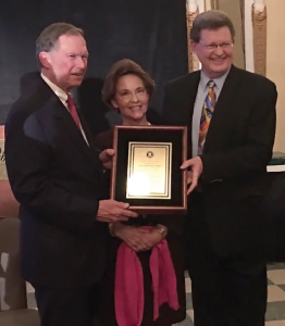 Woods E. Eastland, left, is the recipient of the 2016 A.L. Vandergriff Pioneer Award. He is pictured with wife Lynn Eastland and SCGA Executive Vice President Tim Price during the SCGA Honors Banquet.