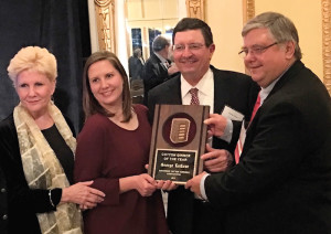 George LaCour, center right, accepts the 2016 Cotton Ginner of the Year Award. He is flanked by Marti LaCour, far left, and Catherine LaCour. To his right is SCGA president Holt Shoaf, Milan, Tenn.