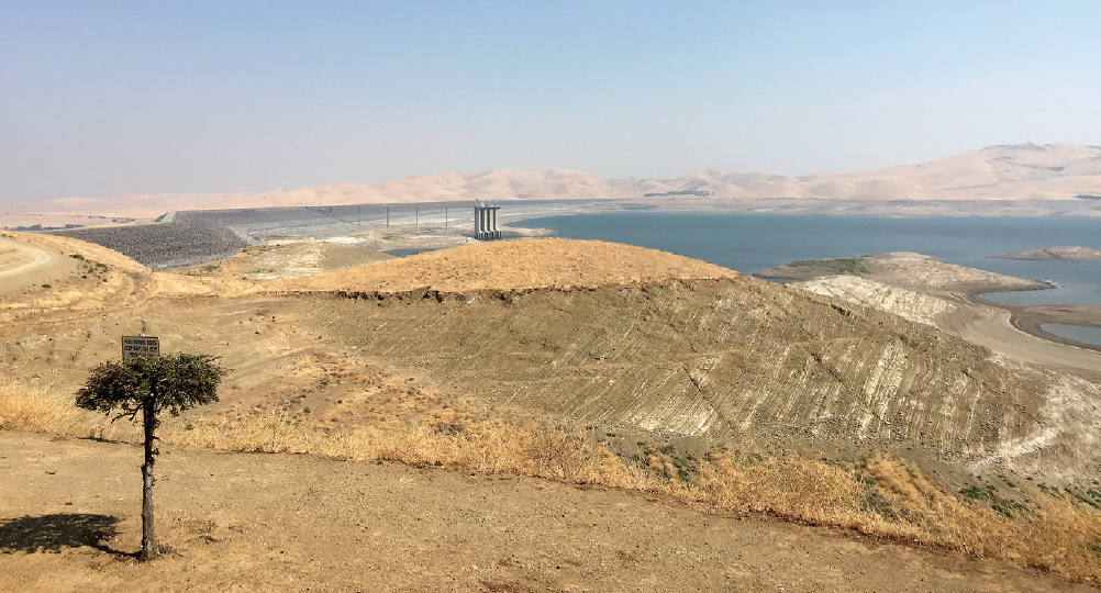 San Luis Reservoir in Central California holds only about 10 percent of its capacity, the lowest level in 25 years. San Luis, which operators describe as the largest off-stream reservoir in the nation, collects water used by both federal and state water projects in California.