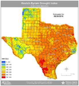 Aug. 20, 2019, texas drought map